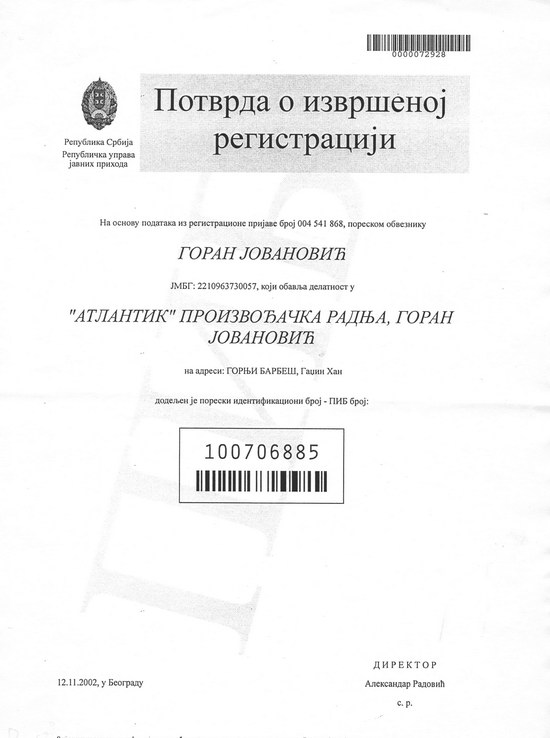 Identity documents - Certificate of VAT registration Atlantik